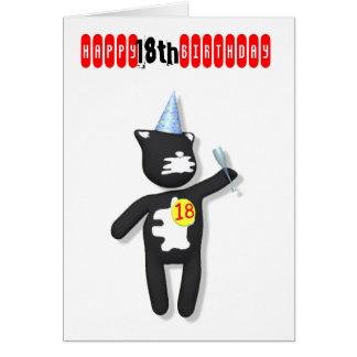 cumpleaños del gato de la masilla décimo octavo tarjeta de felicitación