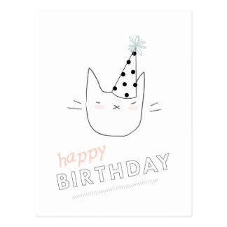 Cumpleaños del gato del fiesta feliz postal