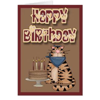 Cumpleaños del gato y de la torta de Tabby feliz Tarjeta De Felicitación