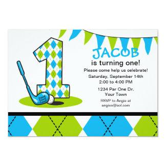 Cumpleaños del golf de Argyle 1r Invitación 12,7 X 17,8 Cm