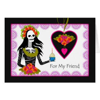 Cumpleaños del gótico para el amigo, señora tarjeta de felicitación