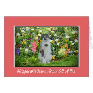 Cumpleaños, del grupo, gato entre las flores tarjeta de felicitación