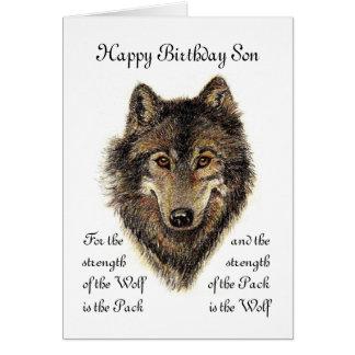 Cumpleaños del hijo - cita del lobo y del paquete tarjeta de felicitación