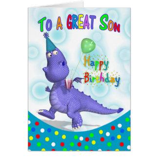 Cumpleaños del hijo con la bebida y el globo tarjeta de felicitación