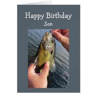 Cumpleaños del hijo del humor de la pesca a tarjeta de felicitación