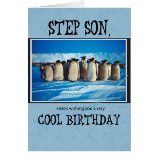 Cumpleaños del hijo del paso, pingüinos tarjeta de felicitación