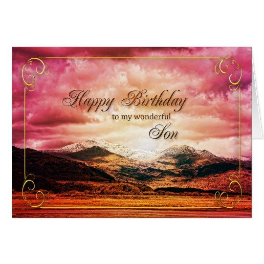 Cumpleaños del hijo, puesta del sol sobre las tarjeta de felicitación