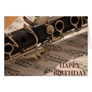 Cumpleaños del instrumento musical del Clarinet Tarjeta Pequeña