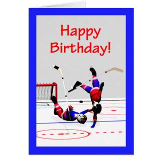 Cumpleaños del juego de hockey tarjeta