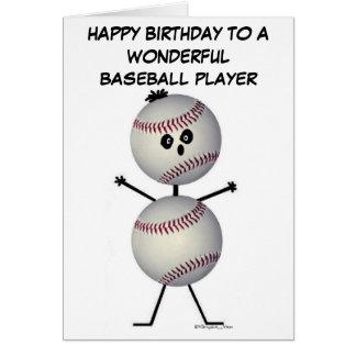 Cumpleaños del jugador de béisbol tarjeta de felicitación