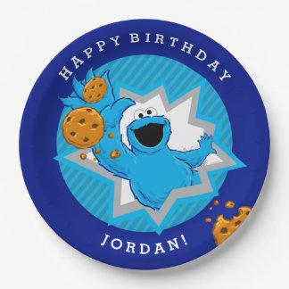 Cumpleaños del monstruo de la galleta plato de papel