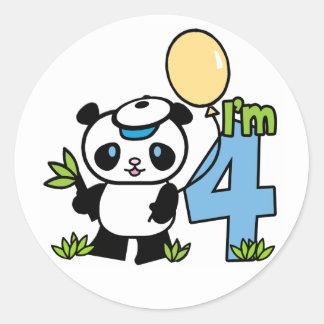 Cumpleaños del muchacho de la panda 4to etiquetas redondas