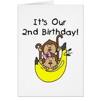 Cumpleaños del muchacho y del chica del mono de lo tarjeton
