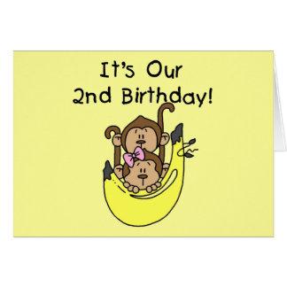 Cumpleaños del muchacho y del chica del mono de lo tarjeta de felicitación