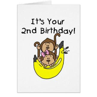 Cumpleaños del muchacho y del chica del mono de tarjeta de felicitación