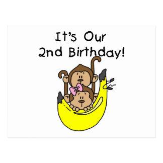 Cumpleaños del muchacho y del chica del mono de postal