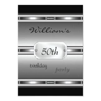 Cumpleaños del negro de plata elegante de la invitación 12,7 x 17,8 cm