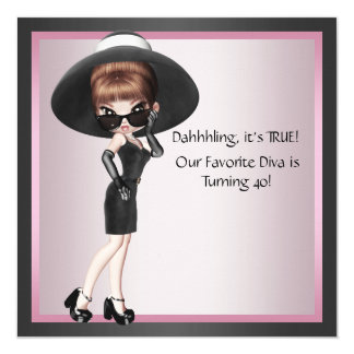 Cumpleaños del negro rosado de la mujer preferida invitación 13,3 cm x 13,3cm