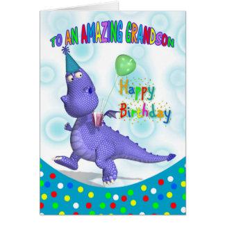 Cumpleaños del nieto con el dragón púrpura tarjeta de felicitación
