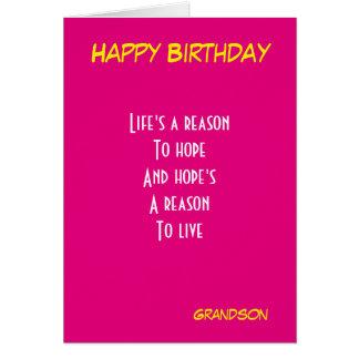 Cumpleaños del nieto tarjeta de felicitación