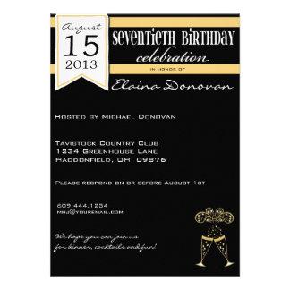 Cumpleaños del oro, blanco y negro de Champán 70.o Invitación Personalizada