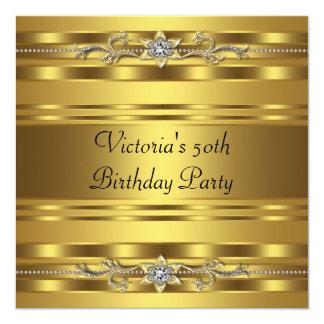 Cumpleaños del oro del oro de la mujer elegante de invitación 13,3 cm x 13,3cm