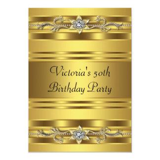 Cumpleaños del oro del oro de la mujer elegante de invitación 12,7 x 17,8 cm