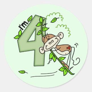 Cumpleaños del oscilación del mono del palillo 4to pegatina redonda