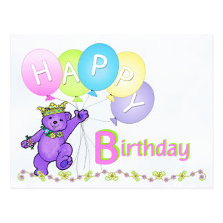 Cumpleaños del oso de peluche del baile feliz postal