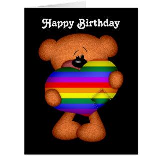Cumpleaños del oso de peluche del corazón del tarjeta de felicitación grande