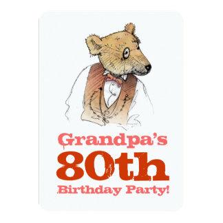 Cumpleaños del oso del abuelo el 80.o invitación 11,4 x 15,8 cm