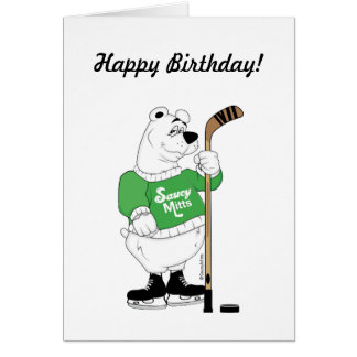 Cumpleaños del oso polar del hockey tarjeta