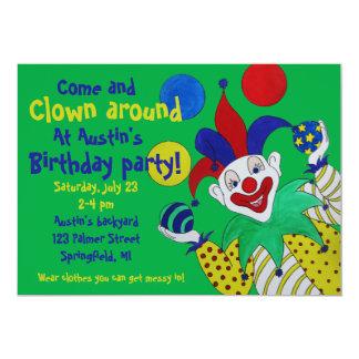 Cumpleaños del payaso que hace juegos malabares invitación 12,7 x 17,8 cm