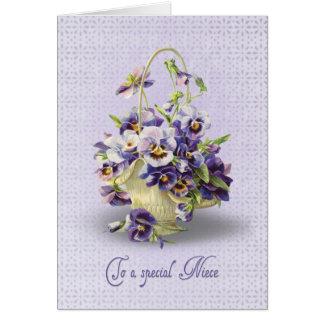 Cumpleaños del pensamiento para la sobrina tarjeta de felicitación