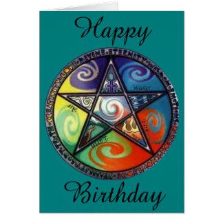 Cumpleaños del Pentagram de Wiccan Tarjeta