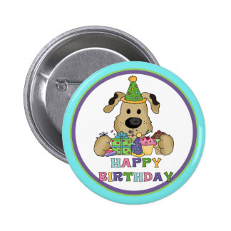 Cumpleaños del perro chapa redonda de 5 cm
