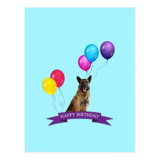 Cumpleaños del perro de pastor alemán feliz postal