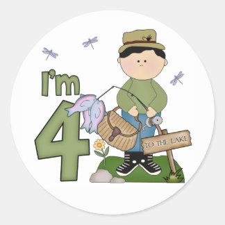 Cumpleaños del pescador de Lil 4to Pegatina Redonda