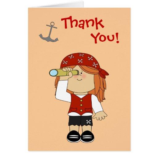 Cumpleaños del pirata del chica felicitacion