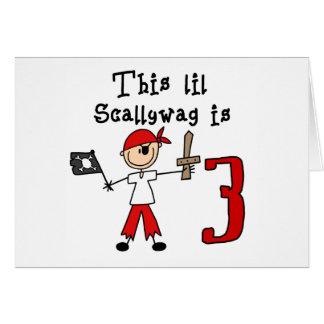 Cumpleaños del pirata del palillo 3ro tarjeta pequeña
