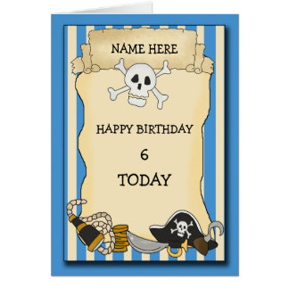Cumpleaños del pirata tarjeta de felicitación