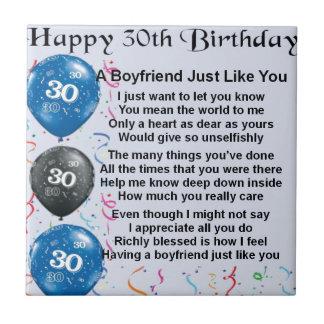 Cumpleaños del poema del novio trigésimo azulejo