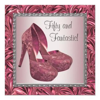Cumpleaños del rosa de la mujer del zapato del invitación 13,3 cm x 13,3cm