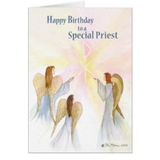 Cumpleaños del sacerdote, ángeles religiosos tarjeta de felicitación