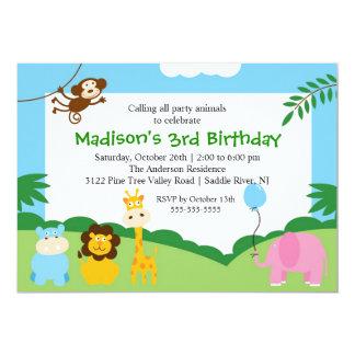 Cumpleaños del safari de la diversión 1r anuncio personalizado