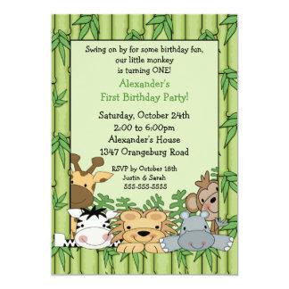 Cumpleaños del safari de la diversión 1r invitación 12,7 x 17,8 cm