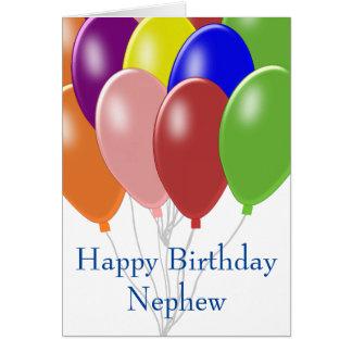 Cumpleaños del sobrino de los globos tarjeta