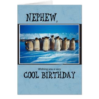 Cumpleaños del sobrino, pingüinos tarjeta de felicitación