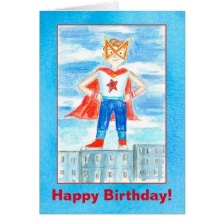 Cumpleaños del super héroe de los niños feliz tarjeta de felicitación