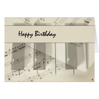 Cumpleaños del teclado de la música tarjeta
